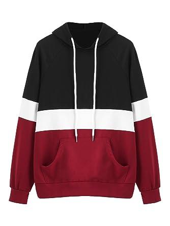 DIDK Women s Hoodies Long Sleeve Splice 3 Color Hooded Sweatshirt Black  Burgundy XS b12f00fcf0