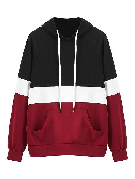 DIDK Women s Hoodies Long Sleeve Splice 3 Color Hooded Sweatshirt Black  Burgundy XS d8f1657121