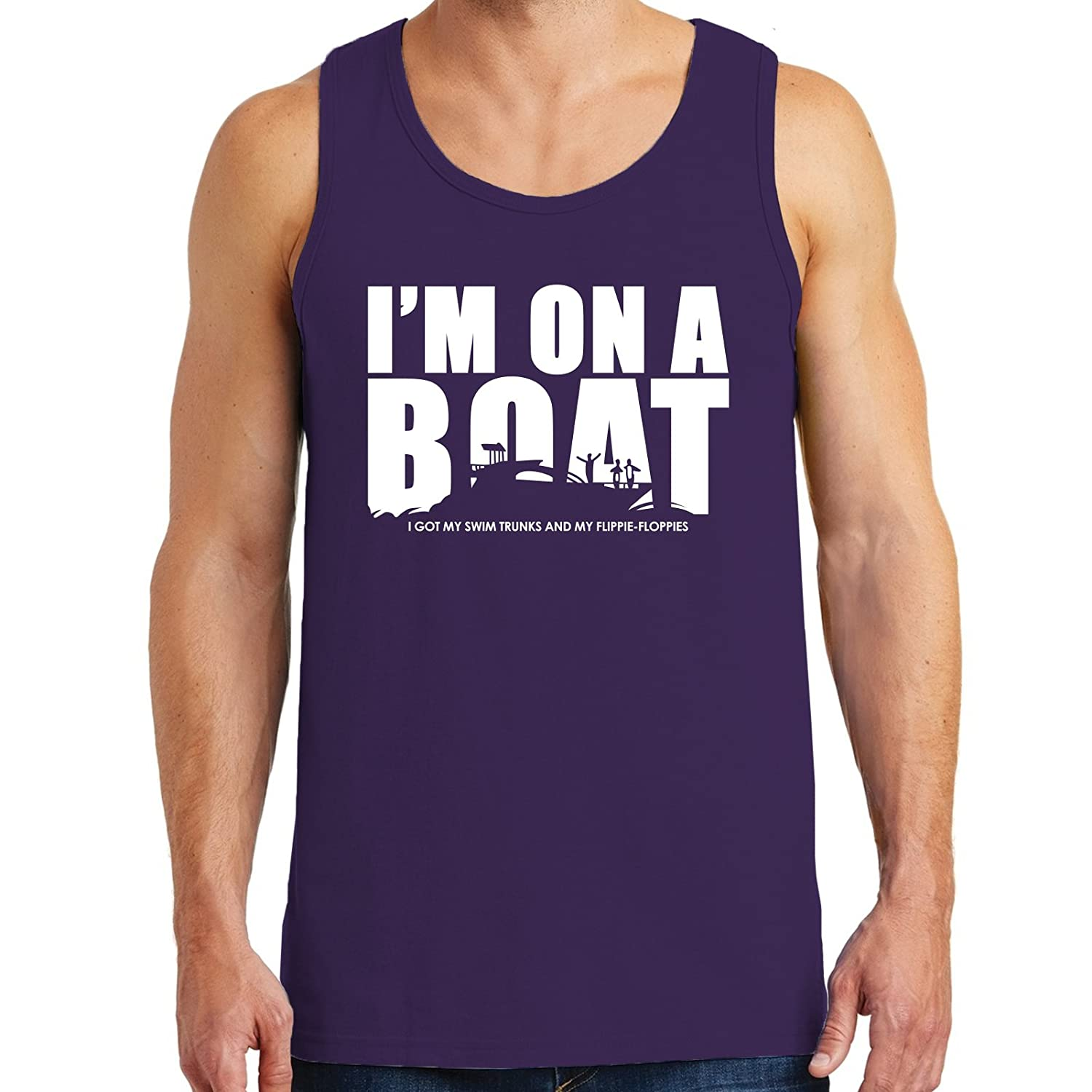 UGP Campus Apparel Im On A Boat River Fishing Funny Adult Cotton Tank Top Lake Sailing Partying
