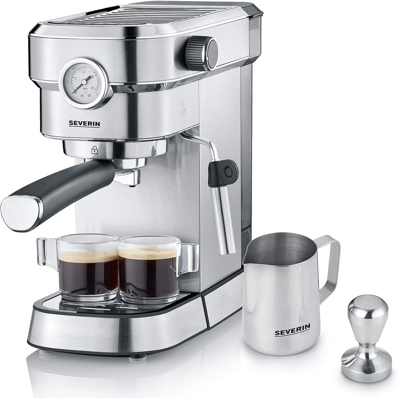Severin KA 5995 Espresa Plus - Cafetera espresso, 1350, 1.1 L, acero inoxidable cepillado, color negro mate: Amazon.es: Hogar