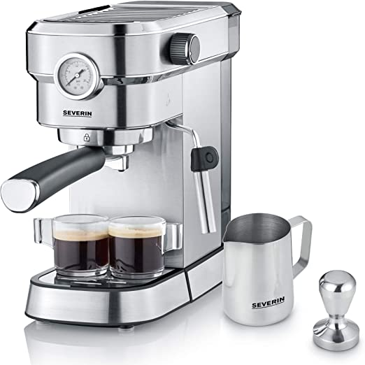 Severin KA 5995 Espresa Plus - Cafetera espresso, 1350, 1.1 L, acero inoxidable cepillado, color negro mate: Amazon ...