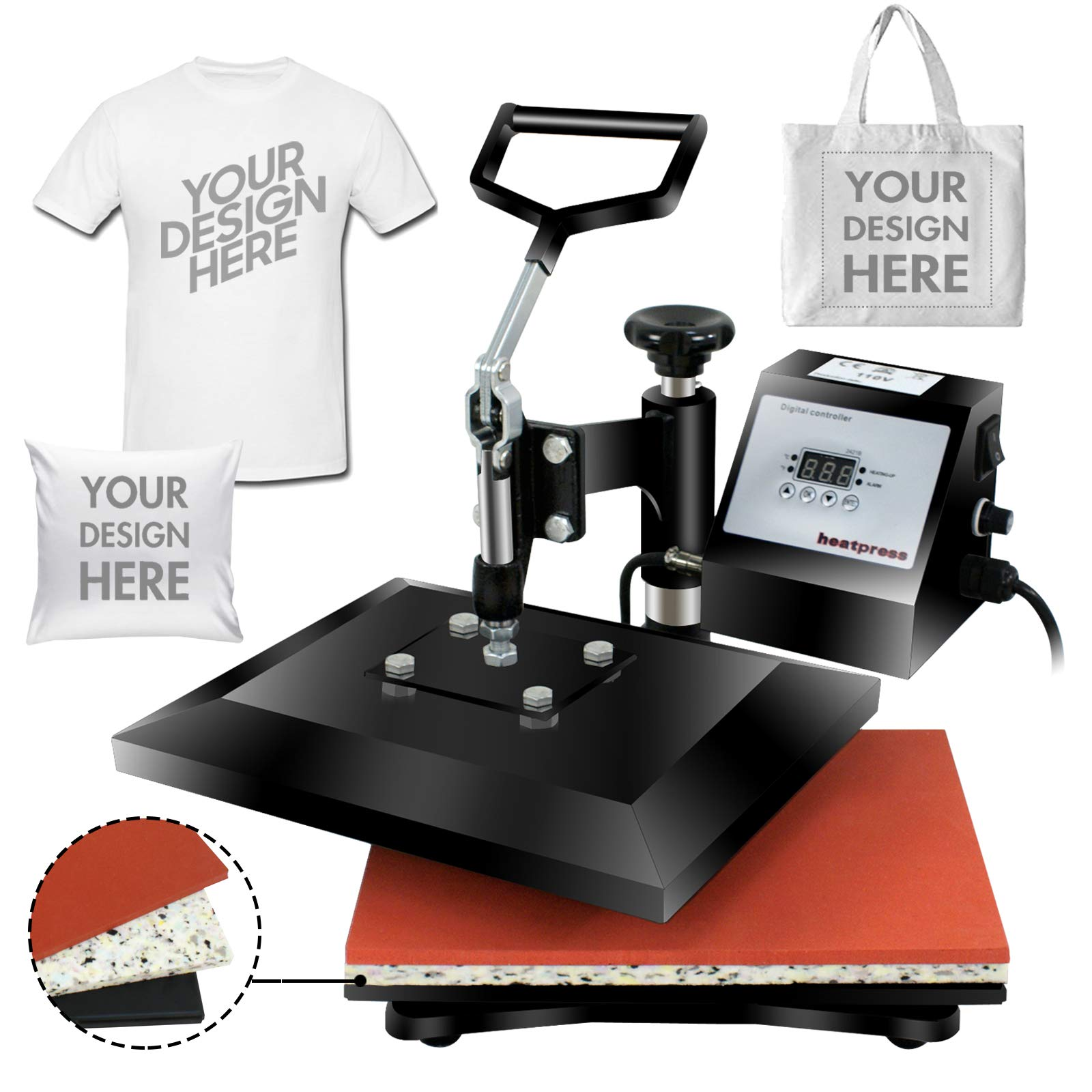 Super Deal PRO 12'' X 10'' Digital Swing Away Heat Press Clamshell Transfer Sublimation Machine by SUPER DEAL