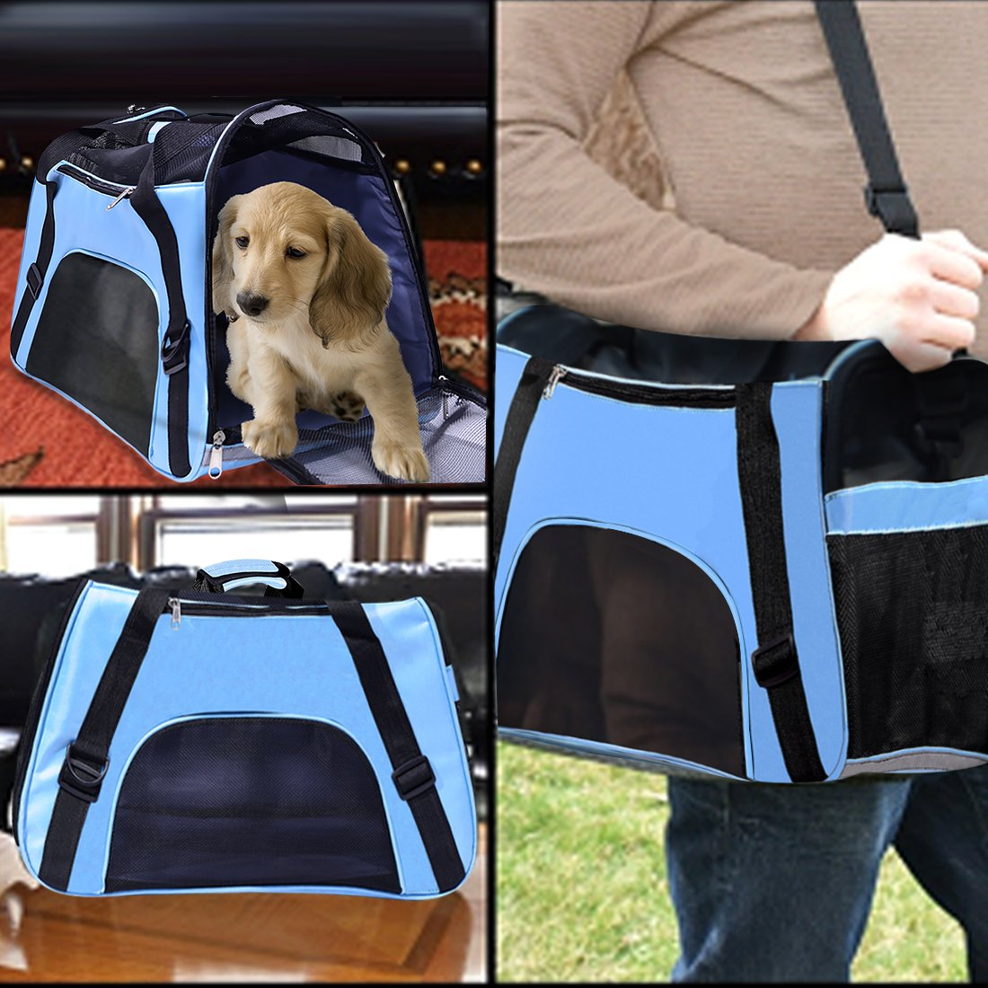 PPOGOO Pet Travel Carriers Soft Sided Portable Bags for Dogs and Cats Airline Approved Dog Carrier 22'' L x 10.2'' W x 13.8'' H Sky Blue by PPOGOO (Image #8)