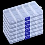 KINJOEK 10 Packs 15 Grids Bead Organizer Containers Storage Plastic Jewelry Box Adjustable Dividers Earring Storage Containers Diamond Painting Storage Case for Cross Stitch Accessories, Nails, Sewing