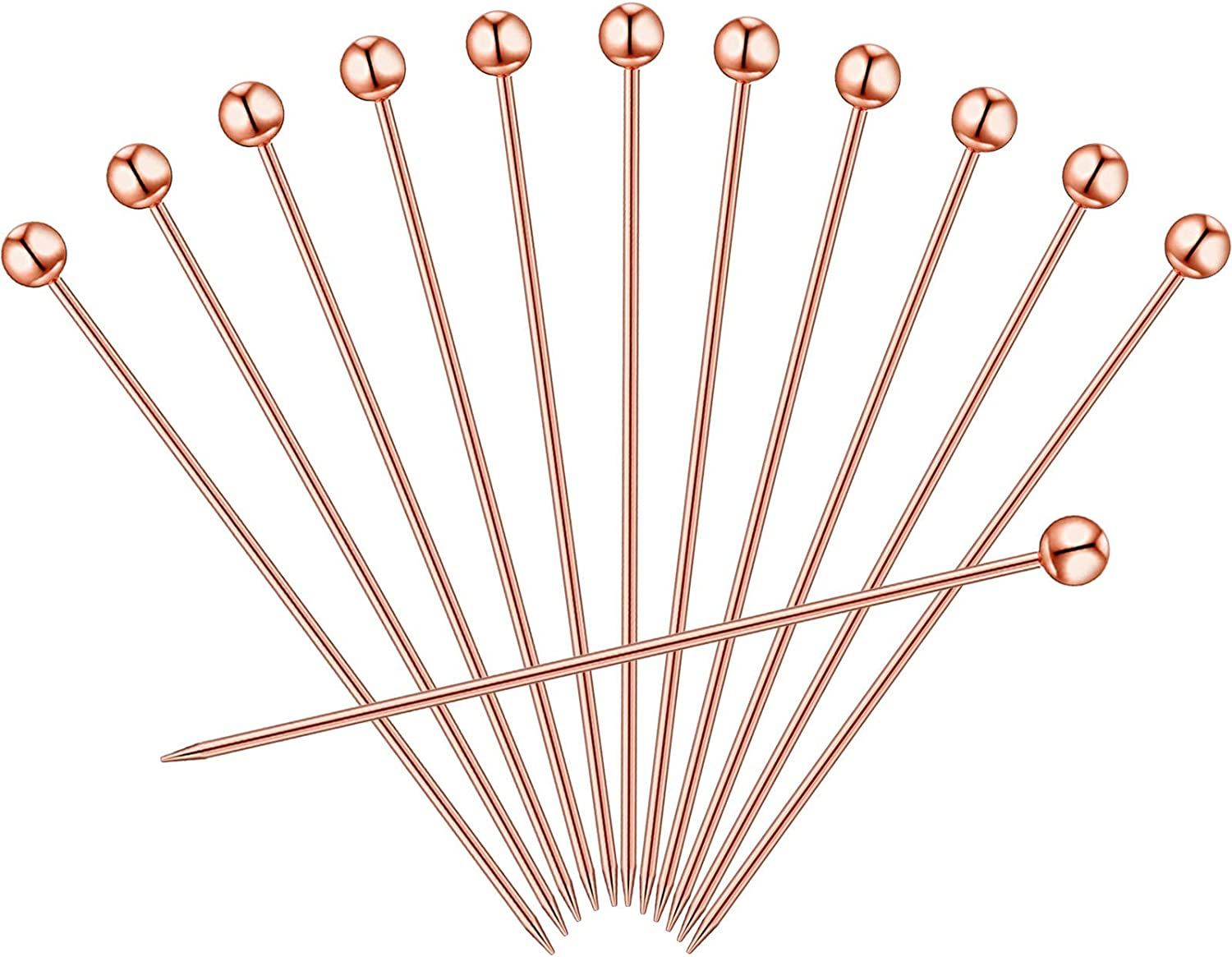 12 Copper Cocktail Picks Stainless Steel Pins 4 Inch, Rose Gold Cocktail Picks, Stainless Steel Martini Picks for Martinis Olives Appetizers Sandwich Hamburger Birthday Party Home Bar