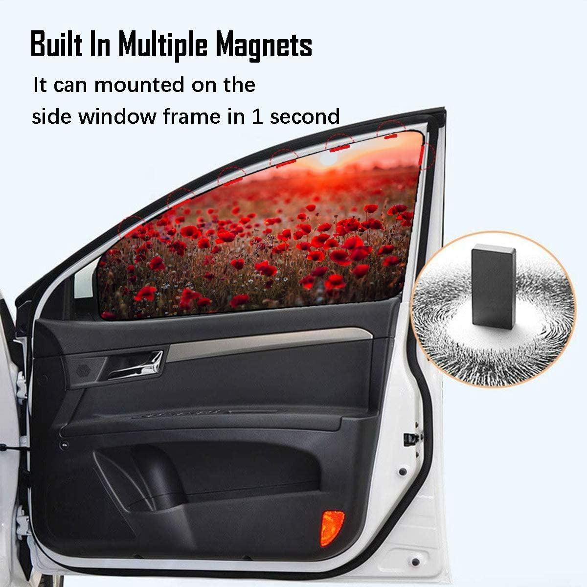 4 Pcs Car Windshield Sunshade Foldable Colorful Wild Flower Field Red Poppies Sunset Funny Car Sun Shade For Windshield Magnetic Curtain Bright Sunlight And Uv Rays Protection For Your Child A Heat