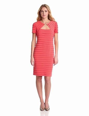 London Times Women's Elbow Sleeve Open Front Dress, Orange, 6