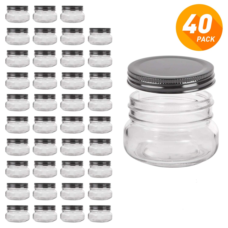 QAPPDA Mini Mason Jars Glass Canning Jars,5 OZ Jelly Jars With Regular Lids(Black) Small Jars for Honey,Jam,Favors,Baby Foods,Spice Jars 40 PACK