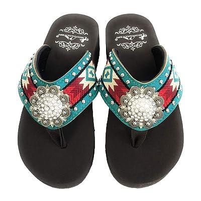 Montana West Women Flip Flops Aztec Embroidery Design Crystal Concho Turquoise | Flip-Flops