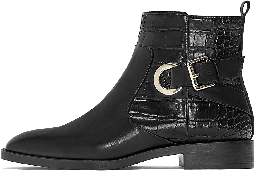1cf8e584f6f Zara Women's Flat Ankle Boots with Buckles 3150/001 (2 UK) Black ...