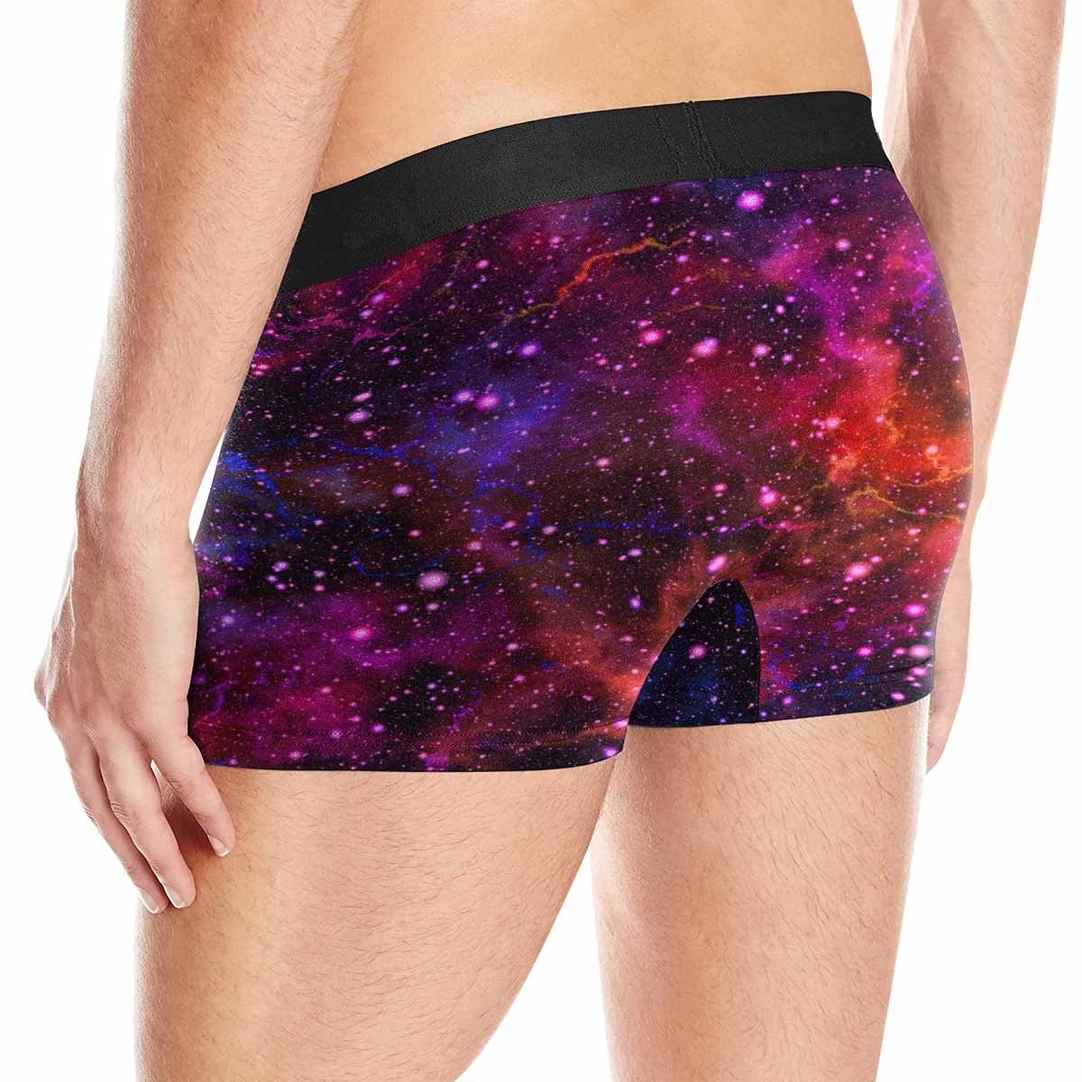 INTERESTPRINT Mens All-Over Print Boxer Briefs Abstract Colorful Universe Nebula Night Starry Sky XS-3XL