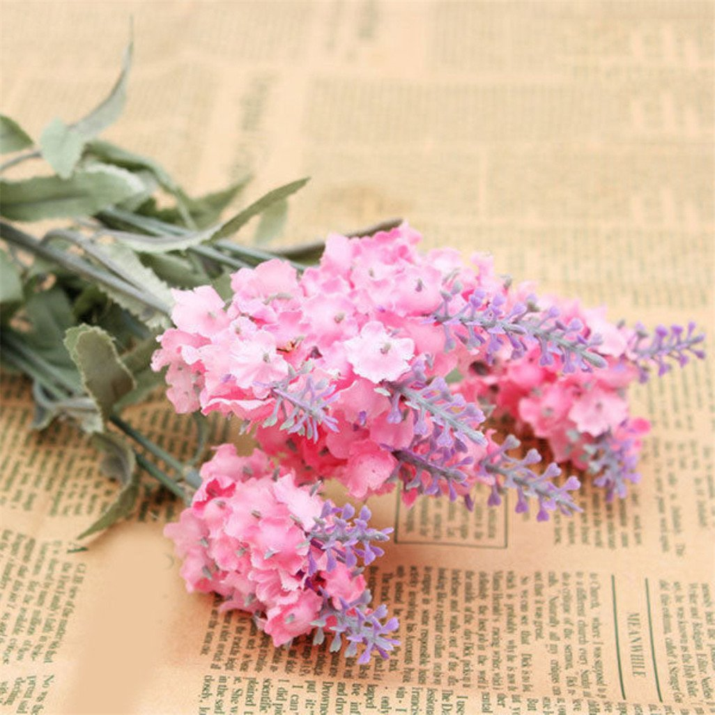 display08 10 Heads 1 Bouquet Faux Silk Lavender Fake Garden Plant Home Decor - Pink