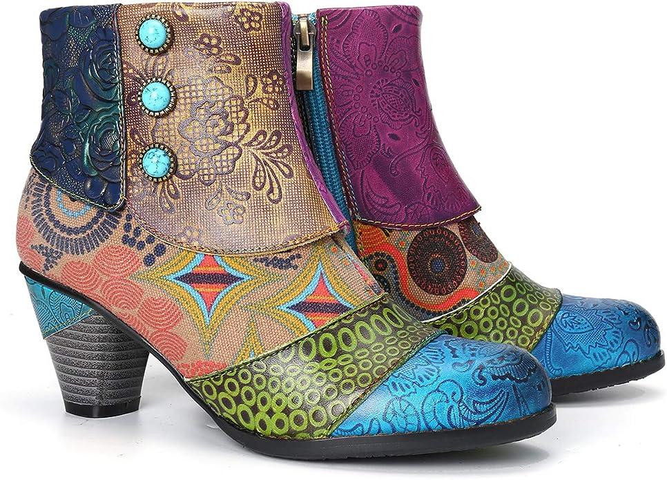 Caopixx Boots for Women Ladies Stylish Comfortable Low Block Heel Side Zipper Ankle Short Boots
