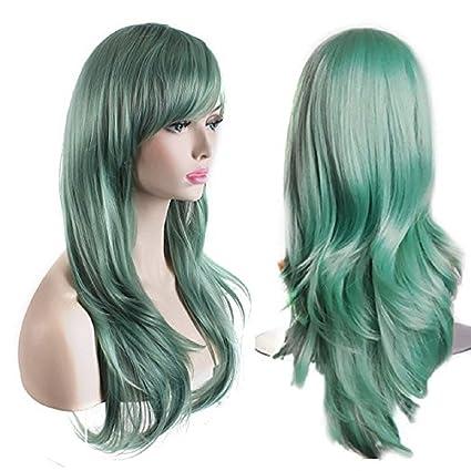 peluca larga Delux Color Verde Pastel cabello Dado Los Primeros pasos 65 cm para mujer Alta