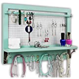 Spiretro Shabby Chic Turquoise Wall Mount Wooden Jewelry Organizer Holder Rack with Hooks Shelf and Removable Rod…