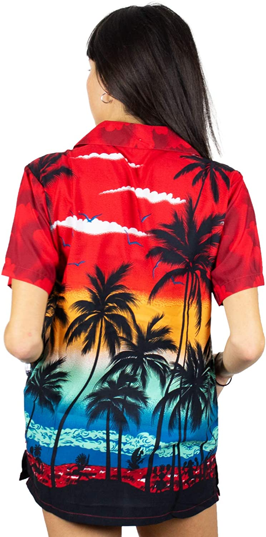 Funky Hawaiibluse Hawaiihemd Damen Kurzarm Front-Tasche Boyfriend Cut Hawaii-Print Strand Beach UNICUT V.H.O