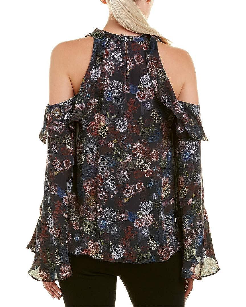 IRO Womens Cold-Shoulder Silk Top 36 Black