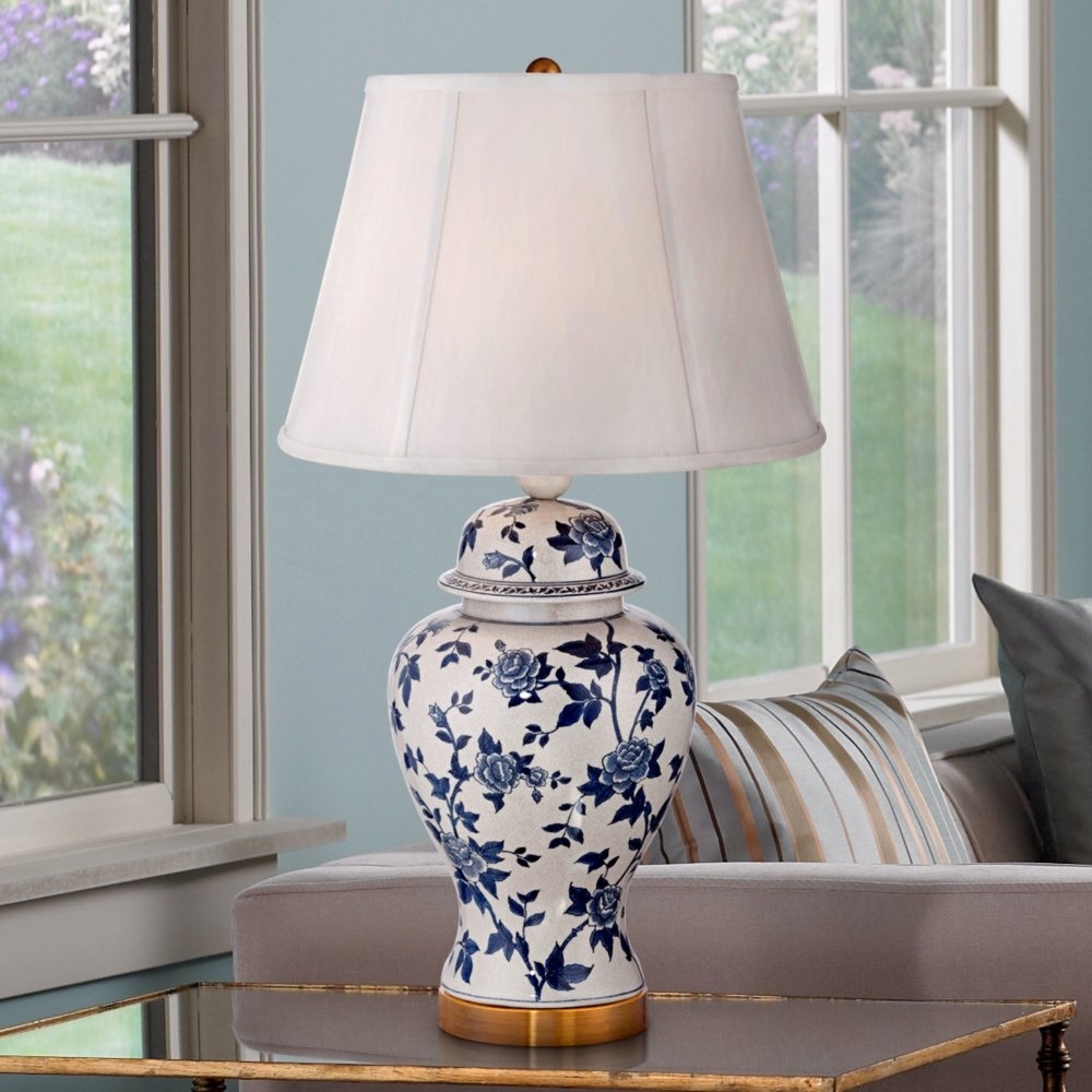 Rose vine blue and white temple jar table lamp amazon geotapseo Gallery