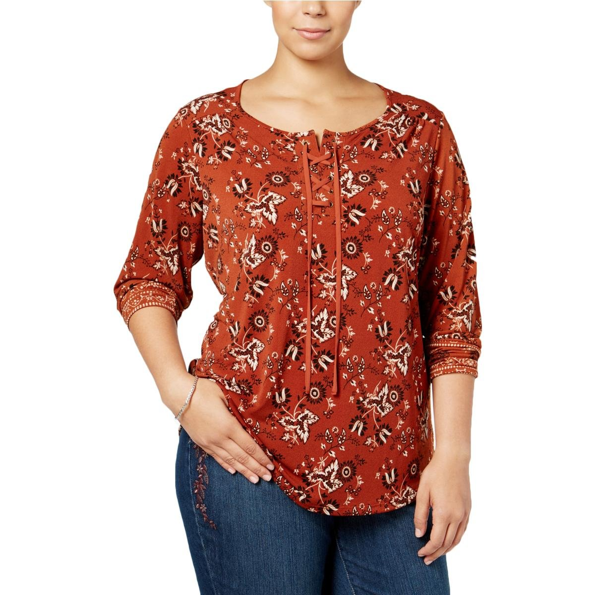 Style & Co. Womens Plus Printed Lace-Up Casual Top Orange 3X