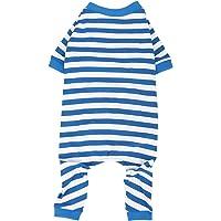 Wolspaw - Pijama para perro, 100% algodón, a rayas, para perros pequeños, medianos y grandes, talla 3XL, color azul y…