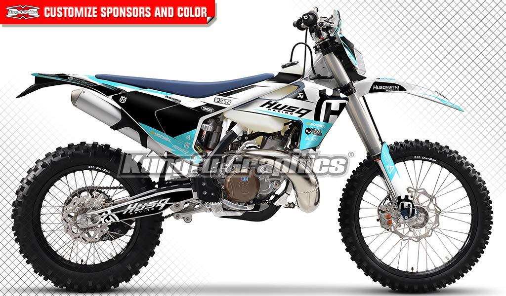 Kungfu Graphics Akrapovic Custom Decal Kit for Husqvarna TE FE 125 250 300 350 450 501 2017 2018 2019, Blue Black White