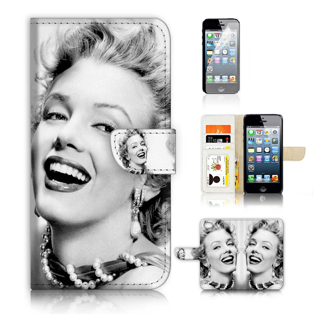 ( For iPhone 5 5S / iPhone SE ) Flip Wallet Case Cover and Screen Protector Bundle A8395 Marilyn Monroe
