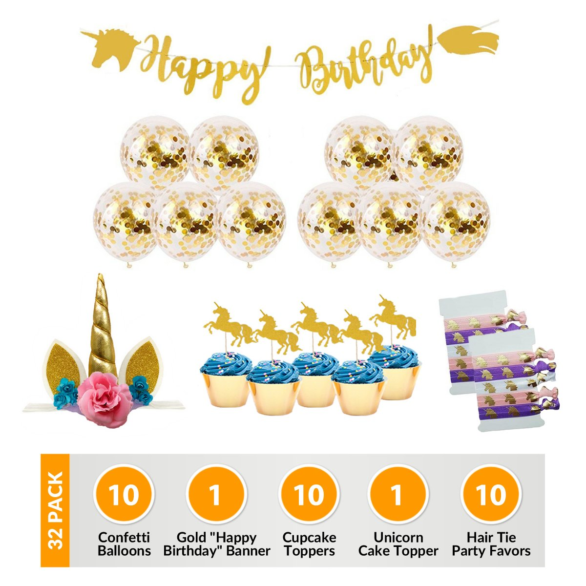 Unicorn Birthday Party Supplies Decorations: 32 Pack With Quality Gold Confetti Balloons, Cake Decoration, Cupcake Toppers, Banner and Magical Enchanted Hair Ties Favors For Girls, Boys, Pink, Gold by Aries Supply