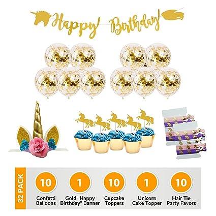 Amazon.com: Unicornio suministros para fiesta de cumpleaños ...