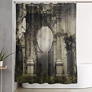 Janrely Shower Curtain for Home Decor,Dark Scenery with A Gothic Garden Gate Vines in A Forest 3D,Fabric Bathroom Curtain Durable WaterproofBath Curtains Sets with 12 Hooks,72 x 72 inches