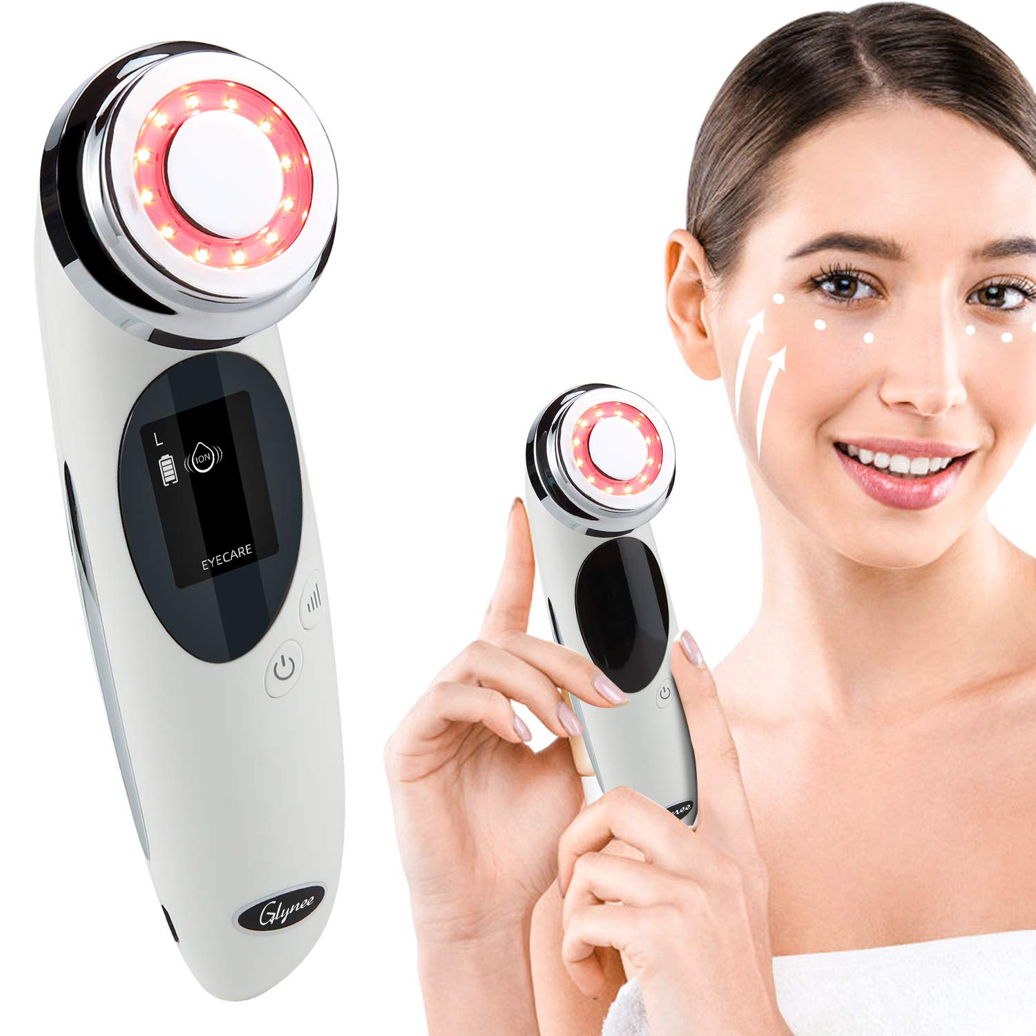 4 in 1 Face Massager,Glynee Daily Care Firming Vibration Facial Massage Beauty Device Face Eye Roller Machine Warm Deep Clean Face Lifting Tighten Anti Aging Device Promote Absorption