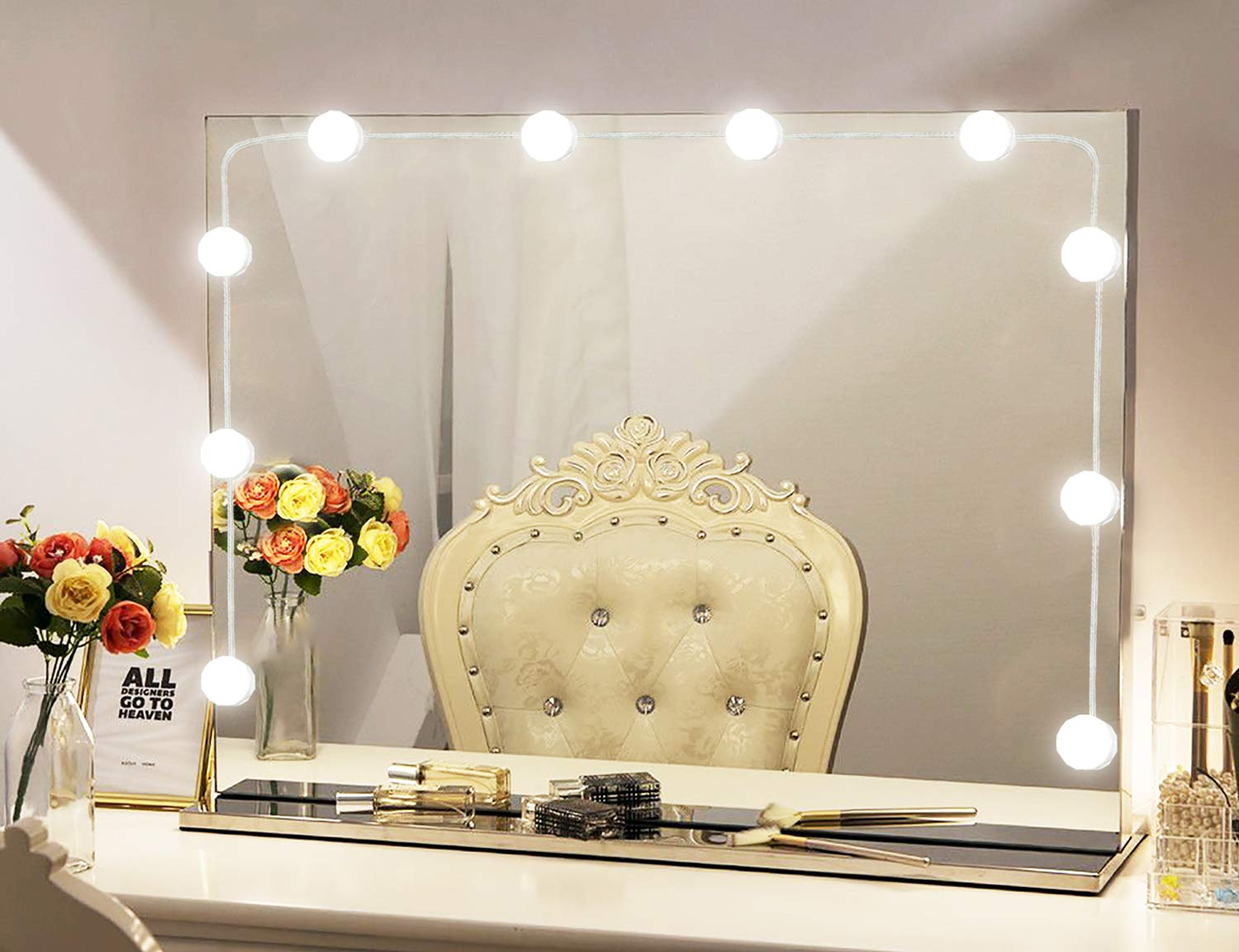 Vanity Mirror Lights Kit Hollywood Style 10 Dimmable LED Light Bulbs Warm White to Daylight Tunable, Linkable Lighting for Makeup Vanity Table Set/Dressing Room (Mirror Not Included)