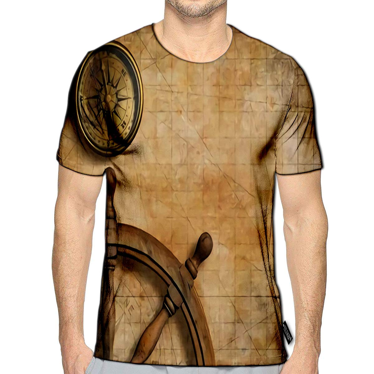T-Shirt 3D Printed Steering Wheel and Compass with Vintage Nautical Map Casual Tees