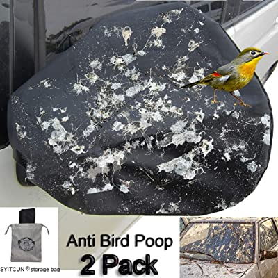 Huge Auto Side Mirror Protect Cover 4 Pack Snow and Ice Mirror Covers Universal Size Fits Cars SUV Truck Van with Advanced Anti Bird Poop Technology Frost Guard 16x15 inch: Automotive