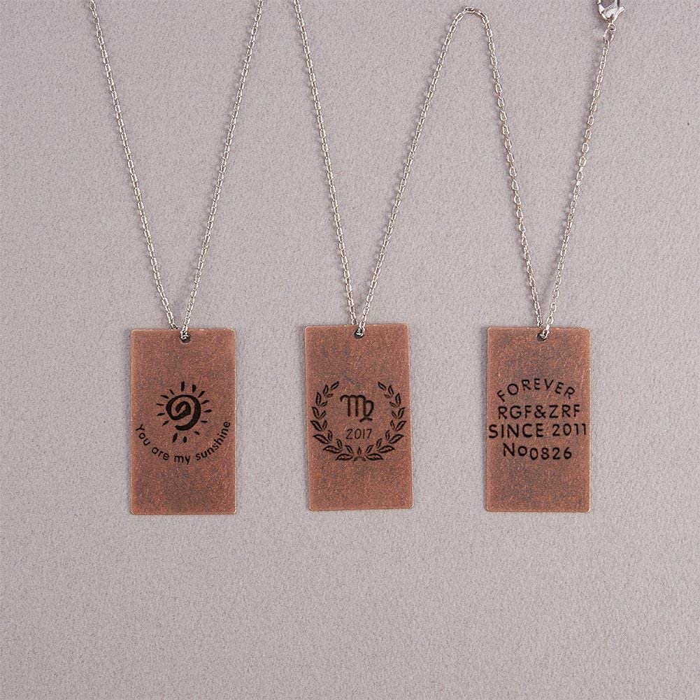 Pandahall 10pcs Red Copper Brass Blank Stamping Tag Pendants Metal Alphabet Letter Stamps Tags Charms for Jewelry Necklace Makings 0.8x0.5 inch Rectangle