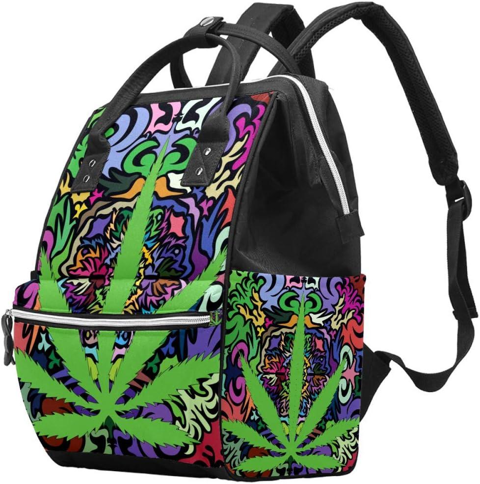 Bennigiry - Bolsa de pañales con diseño de hojas de cannabis