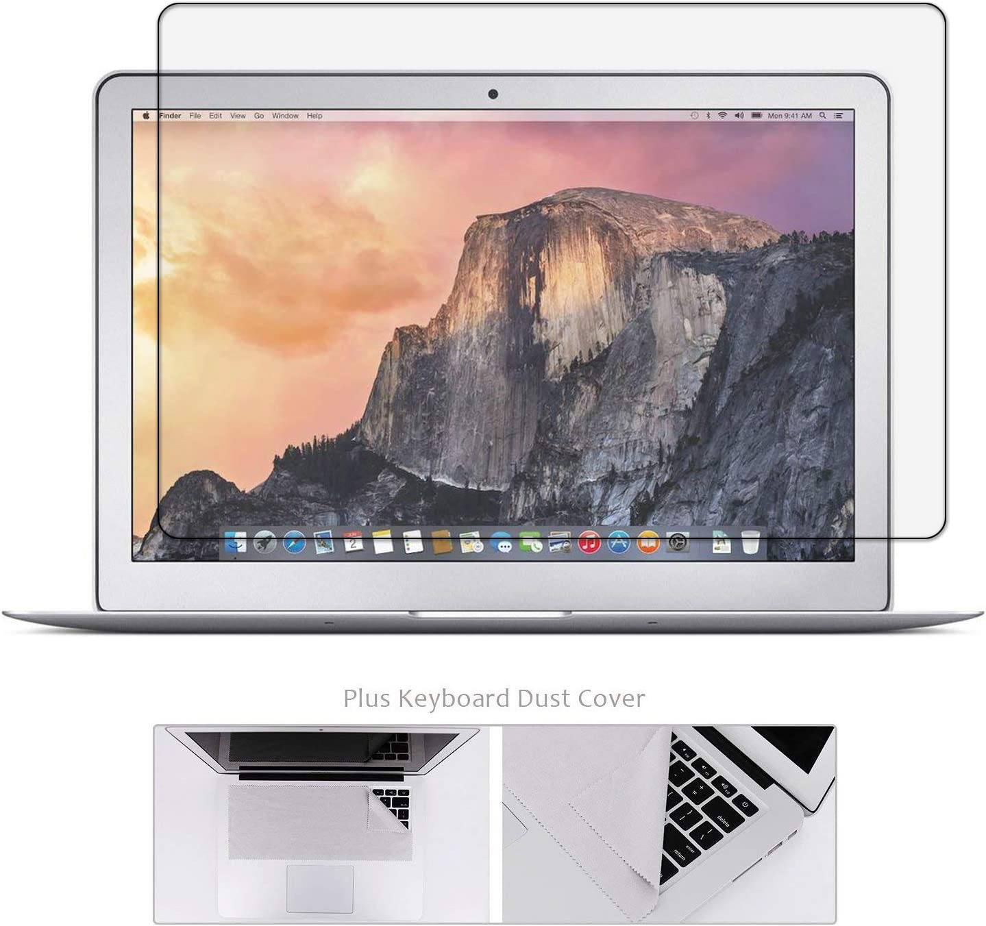 Tempered Glass Screen Protector Compatible with MacBook Air 13 Inch Model A1369 A1466 + Large Cleaning Cloth, Bubble Free, 99.9% Transparency Not Reduce The Screen Brightness (Not for Newest Mac Air 13 A1932)