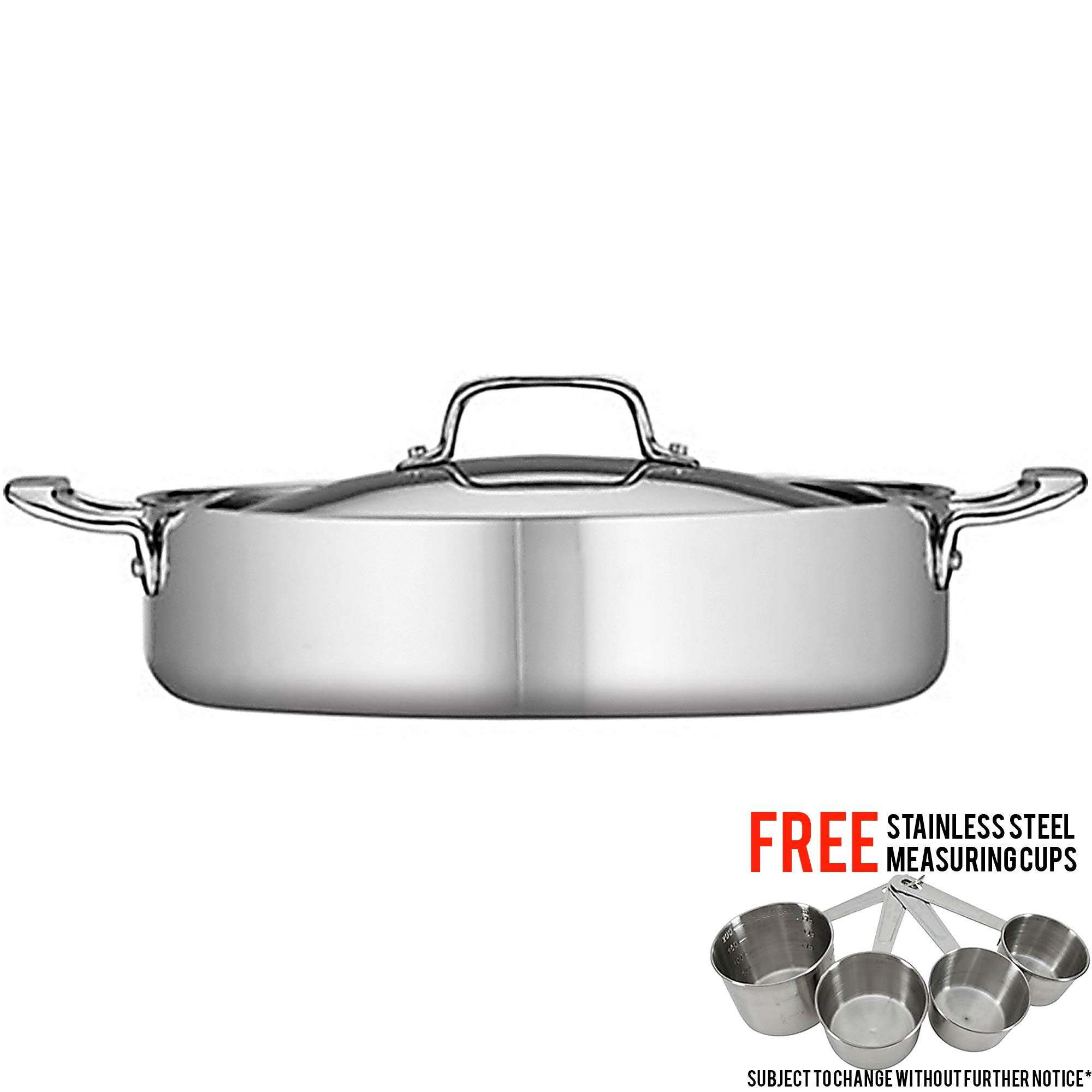 Tramontina 5-Qt Stainless Steel Tri-Ply Clad Covered Braiser Bundled with with Free Stainless Steel Measuring Cup