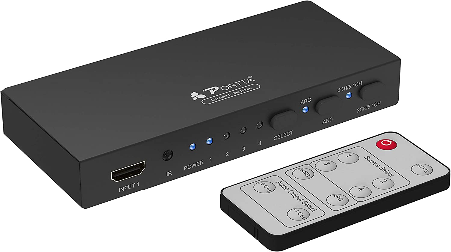 Portta HDMI Switch 4 Port with Stereo Toslink Coaxial Interface Extract Audio and Audio Return Channel ARC Remote Control Support 4K@60Hz HDCP2.2 LPCM Dolby Digital Dolby True-HD DTS