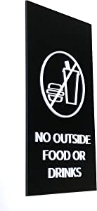 Kubik Letters No Outside Food or Drinks Sign, Modern Design Door Sign for Restaurant and Cafe with 3M Double Sided Tape