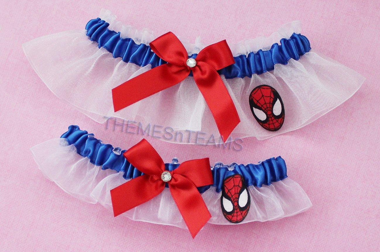 Customizable handmade - Spiderman fabric - blue satin & white organza bridal garter set wedding prom garters