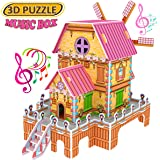 GBD 3D Puzzle Magic Windmill Music Box Inside Jigsaw Dollhouse Castle Brain Model DIY Building Sets Educational Kids Toys Creative Learning Games Gifts for Girls Boys Birthday Gifts-23 Pieces