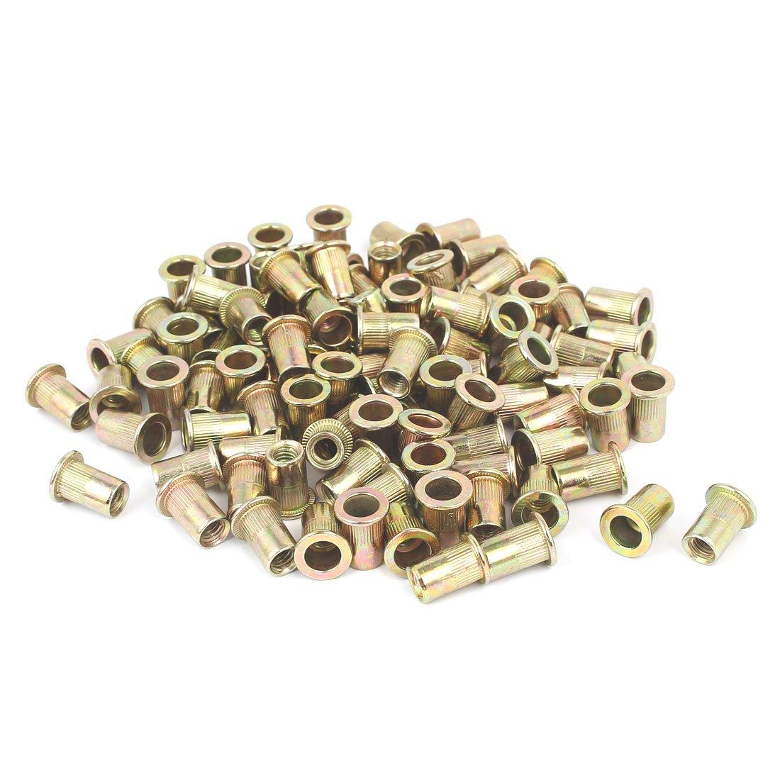 uxcell 5mmx16mm Straight Knurled Rivet Nut Insert Nutsert Bronze Tone 100pcs