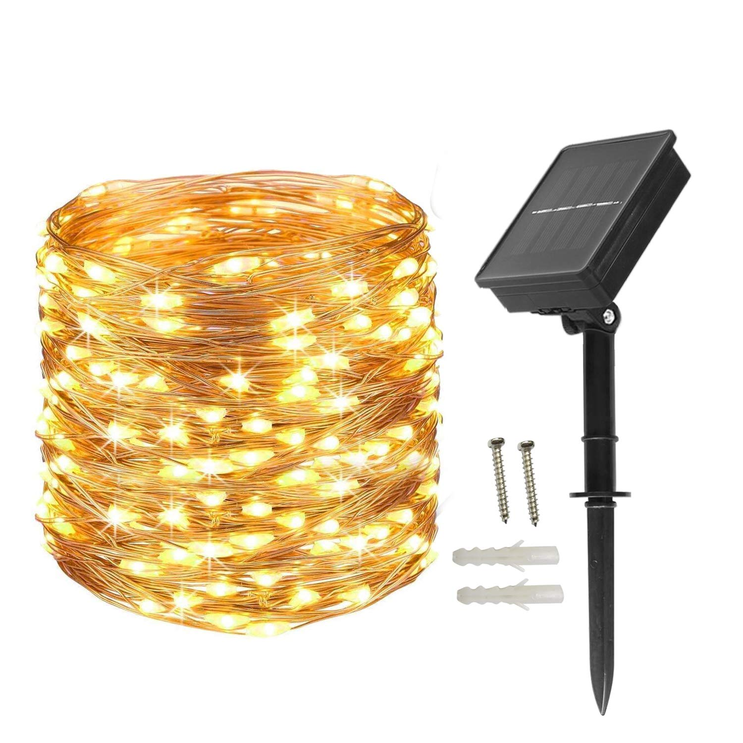 BXROIU Solar Fairy Lights Copper Wire 200 LEDs String Lights Starry Fairy Lights, 8Modes 66ft/20m Waterproof Outdoor Lights for Patio, Garden, Party (Warm White)