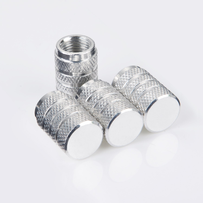 8 Pi/èces Argent Bouchons de Valve en Aluminium Casquettes Anti Poussi/ère de Voiture Tige de Roue de Pneu Capuchons de Poussi/ère de la Valve