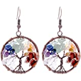 Sedmart Tree of life Drop Amethyst Rose Crystal Earrings Gemstone Chakra Jewelry Best Gifts