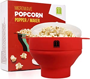MUGOOLER Microwave Popcorn Popper Silicone Popcorn Maker Collapsible Bowl BPA Free (Red)