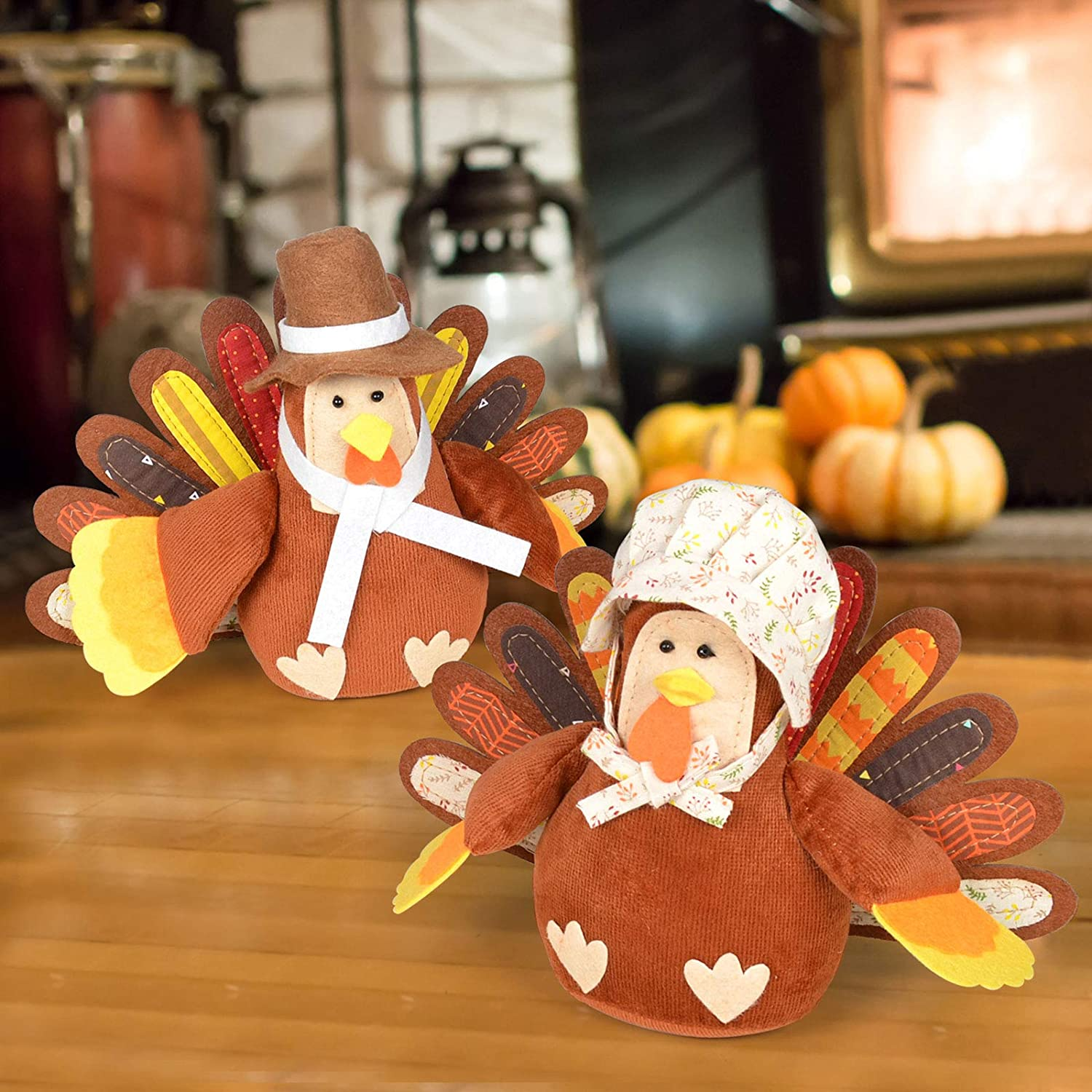 ALLADINBOX Standing Turkey Couple Thanksgiving Decoration for Autumn Fall Thanksgiving Harvest Home Indoor Outdoor Decoration Gift Set