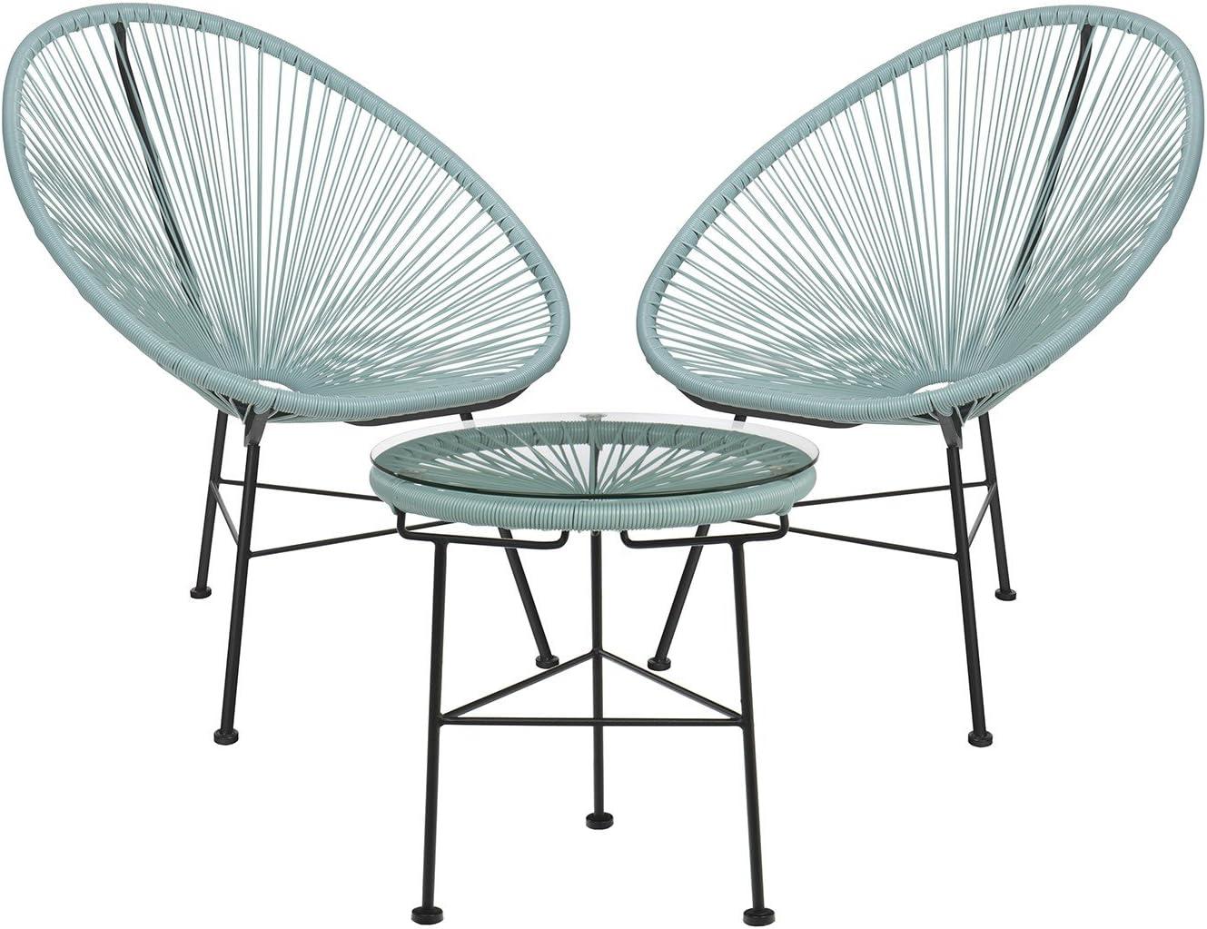 SKLUM Lot de 2 Chaises /& 1 Table New Acapulco Rouge Coquelicot Plus de Couleurs