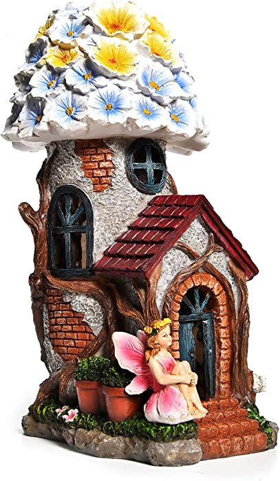 ASAWASA Resin Fairy Flower House Solar Garden Statues and Sculptures Outdoor Decor,Garden Figurines with Solar Powered Lights for Patio,Lawn,Yard Art Decoration,Garden Gift,6.3x4.7x9.9 Inch