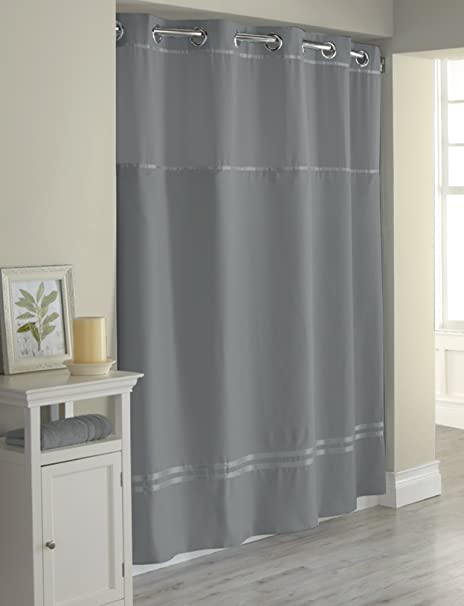 Hookless Escape Graphite with Fabric Nliner Shower Curtain: Amazon ...